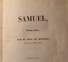paul de musset, Samuel, roman, renduel, 1833, originale, litterature